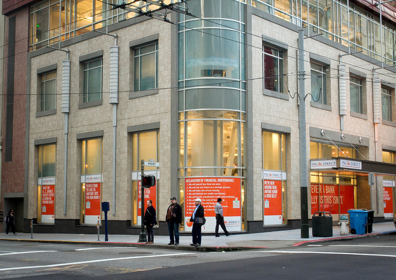 The exterior of the ING Direct branch that is also a cafe in San Francisco, Calif., is seen on Wednesday, December 28th,  2011.
