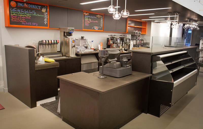 The coffee counter at the ING Direct  branch that is also a cafe in San Francisco, Calif., is seen on Wednesday, December 28th,  2011.
