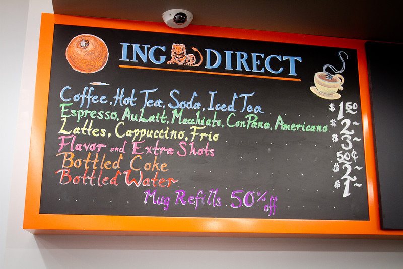 The menu board at the ING Direct  branch that is also a cafe in San Francisco, Calif., is seen on Wednesday, December 28th,  2011.