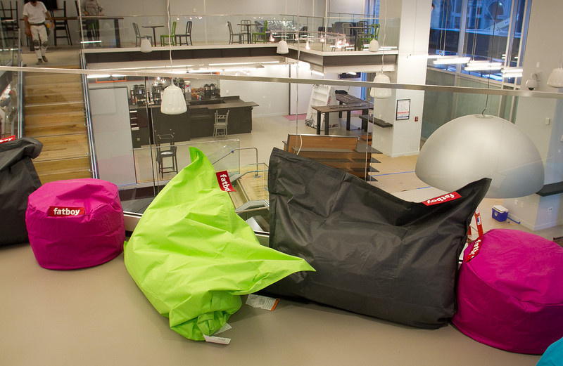 Bean bags on the mezzanine at the ING Direct  branch that is also a cafe in San Francisco, Calif., is seen on Wednesday, December 28th,  2011.