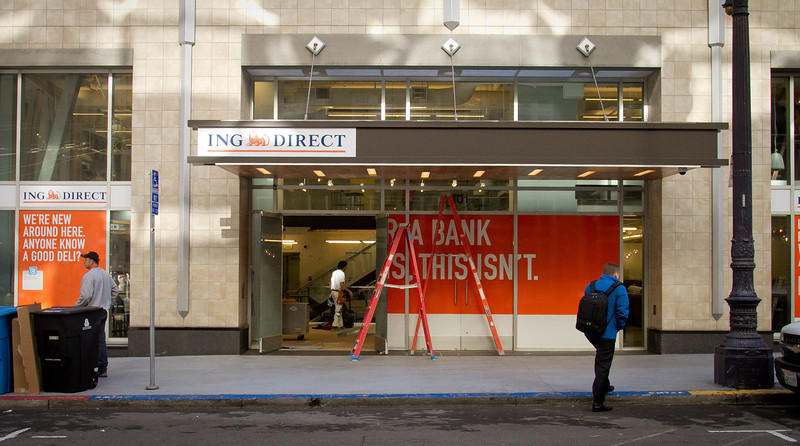 The exterior of the ING Direct bank branch that is also a cafe in San Francisco, Calif., is seen on Wednesday, December 28th, 2011.