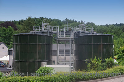 Digester Towers – Part of a Sewage Treatment Plant for biological cleaning of industrial and domestic sewage by using microorganisms