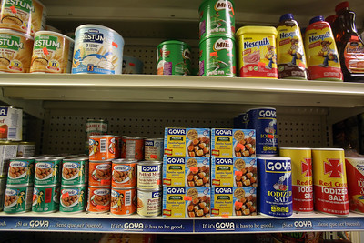 Items at Infante Grocery on Broadway in Lowell, which carries many imported vegetables and brands. (SUN/Julia Malakie)