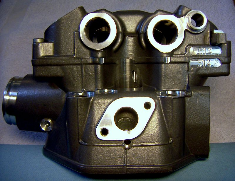 """COMPLETED '05 KTM LC4 CYLINDER HEAD """"BLUEPRINTED"""" PORTS, SEATS CUT AT 15-45-60 @ MIN. SPEC WIDTHS - CENTER CONTACT, 80 LBS SEAT PRESSURE @ INSTALLED HEIGHT. NEW 36/32MM VALVES, SEALS & """"RALLYE"""" SPRINGS."""