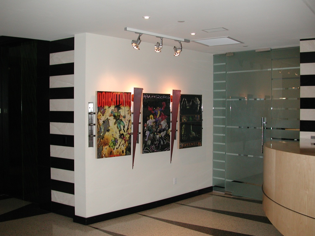 The reception area.  We had 9 posters on the wall in this area, all for Daikatana, Deus Ex, Anachronox and Dominion.