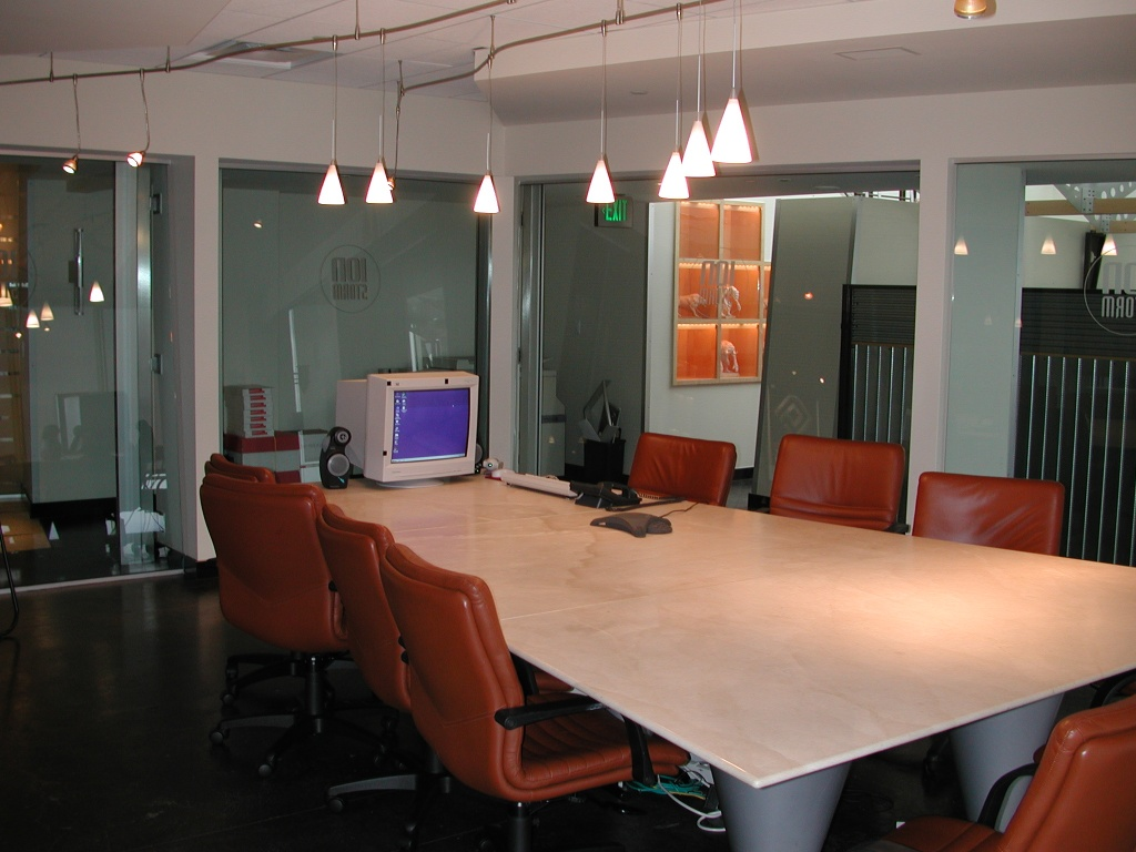 This was our conference room - we'd hold all kinds of meetings in here.  The glass was bulletproof and just by pressing a button, steel panels would lower from the ceiling to the floor in front of all the windows (outside the room).