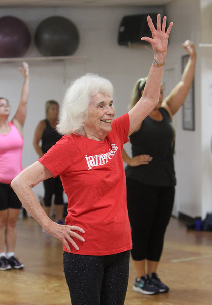 Jazzercise class at Chelmsford studio on Parkhurst Road. It's the 50th anniversary of the dance fitness phenomenon. Louise Gosselin, 82, of Chelmsford, who's been doing Jazzercise for 37 years, six or seven at this studio. (SUN/Julia Malakie)