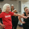 Jazzercise class at Chelmsford studio on Parkhurst Road. It's the 50th anniversary of the dance fitness phenomenon. Louise Gosselin, 82, of Chelmsford, left, who's been doing Jazzercise for 37 years, six or seven at this studio, and Kerri Eldredge of Chelmsford, right. (SUN/Julia Malakie)