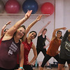 Jazzercise class at Chelmsford studio on Parkhurst Road. It's the 50th anniversary of the dance fitness phenomenon. Liz Douglas of North Andover, left.  (SUN/Julia Malakie)