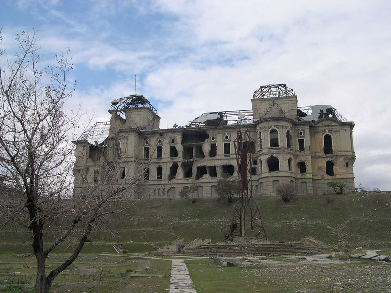 The remains of the former Presidential Palace in Kabul, gutted during the fighting.