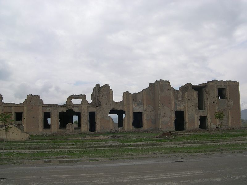 The remains of the former US Embassy in Kabul.  Most of the city was destroyed during the civil war following the departure of the Soviet troops at the end of the 1980's.