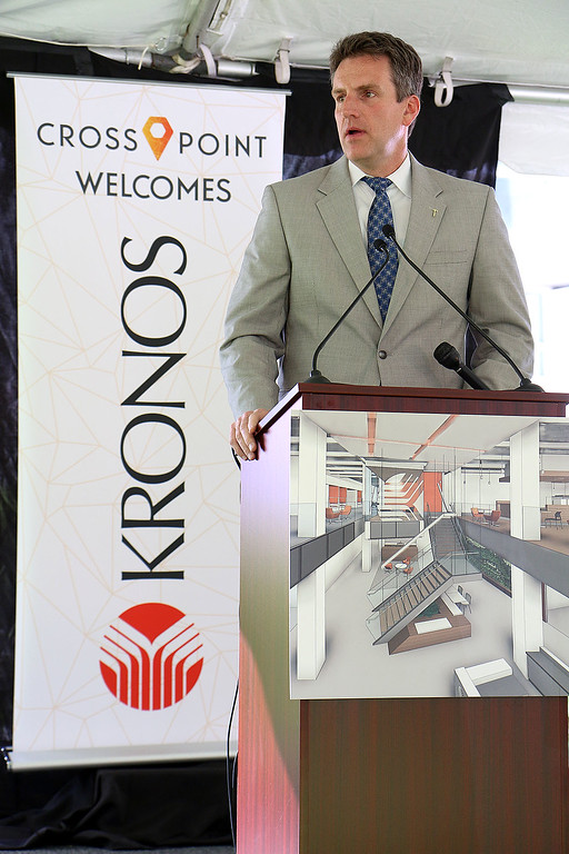 ". A ""golden sledgehammer\"" event marking the ceremonial start of a $40 million renovation for the company Kronos, which is moving from Chelmsford to Lowell, was held at Cross Point\'s, the company\'s new home, on Friday morning. MA Secretary of Housing and Economic Development Jay Ash addresses the crowd during the ceremony. SUN/JOHN LOVE"