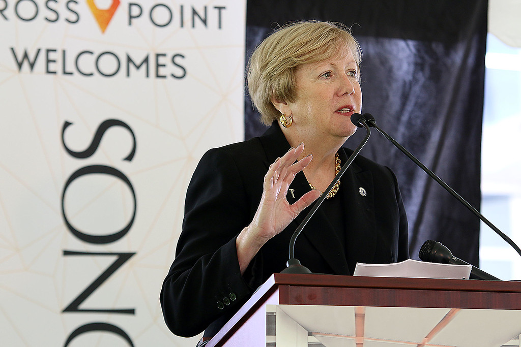 """. A \""""golden sledgehammer\"""" event marking the ceremonial start of a $40 million renovation for the company Kronos, which is moving from Chelmsford to Lowell, was held at Cross Point\'s, the company\'s new home, on Friday morning. MA State senator Eileen Donoghue addresses the crowd during the ceremony. SUN/JOHN LOVE"""