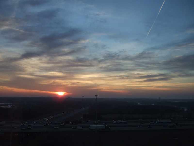 Sunrise over Chicago from the office at 475 Martingale.