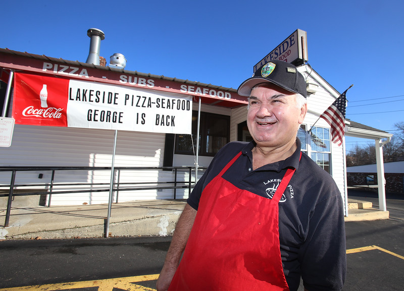 George Bousios of Tyngsboro, founder of Lakeside Pizza & Seafood, is once again owner, buying back the business he sold in 2015. (SUN/Julia Malakie)