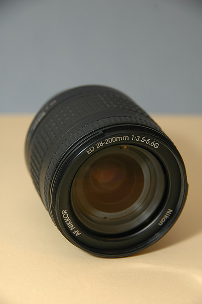Nikkor 28-200mm f/3.5-5.6G ED-IF AF lens -- Front View at 28 mm.