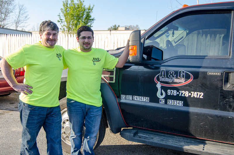 Gabriel and Adrian Chammoro, of A & G Towing/Repair in Leominster. SENTINEL & ENTERPRISE / Ashley Green