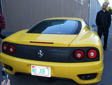 Brian admiring the Ferrari