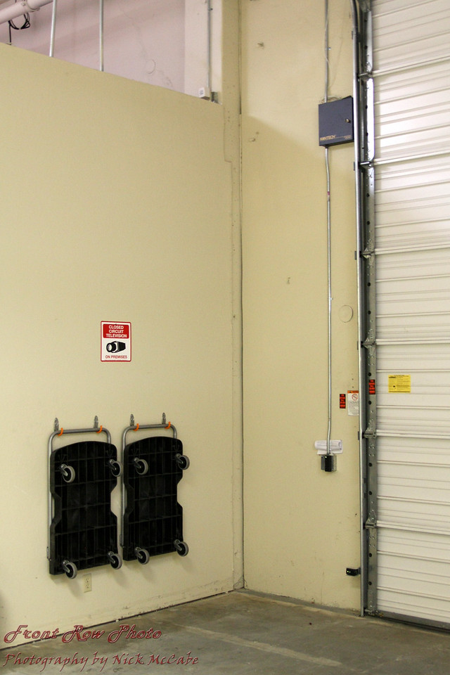 A roll up door and carts are available for load out and load in of equipment.