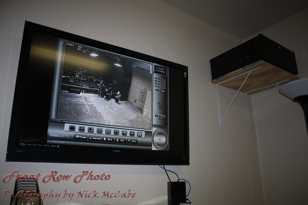 All cameras are recorded on a DVR and monitored locally as well as remotely.