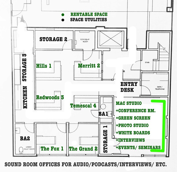Floor plan layout with  office and desk names for rental