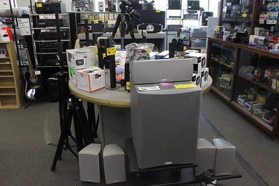 Several speakers, PA systems and other audio equipment are for sale at Main Street Audio Video Thursday, June 4 at 701 N. Mission St. The store also performs services to maintain the equipment for customers.
