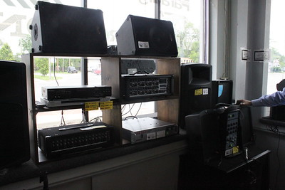 Several speakers, PA systems and other audio equipment are for sale at Main Street Audio Video Thursday, June 4 at 701 N. Mission St. The store also performs services to maintain the equipment.