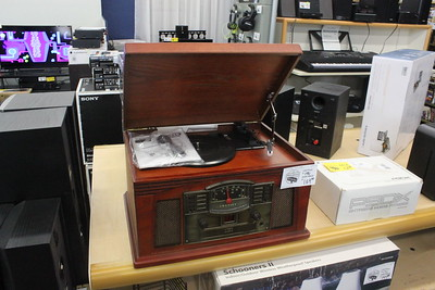 A retro-style turntable is on display inside Main Street Audio Video Thursday, June 4 at 701 N. Mission St.