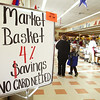 For the remainder of the year, Market Basket is giving shoppers four percent off each grocery order. This sign can be seen as you walk into the Fitchburg Water Street Market Basket. SENTINEL & ENTERPRISE/JOHN LOVE