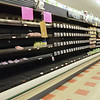 Empty produce shelves at Market Basket on John Fitch Highway in Fitchburg on Wednesday around 5 in the afternoon. Petitions to bring back Artie T. were also hanging in the aisles. SENTINEL & ENTERPRISE / Ashley Green
