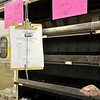 Empty produce shelves at Market Basket on John Fitch Highway in Fitchburg on Wednesday around 5 in the afternoon. Petitions to bring back Artie T. hung in the aisles. SENTINEL & ENTERPRISE / Ashley Green