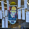 Receipts from grocery competitors hung on the doors of Market Basket on John Fitch Highway in Fitchburg on Wednesday around 5 in the afternoon. Petitions to bring back Artie T. hung in the aisles. SENTINEL & ENTERPRISE / Ashley Green