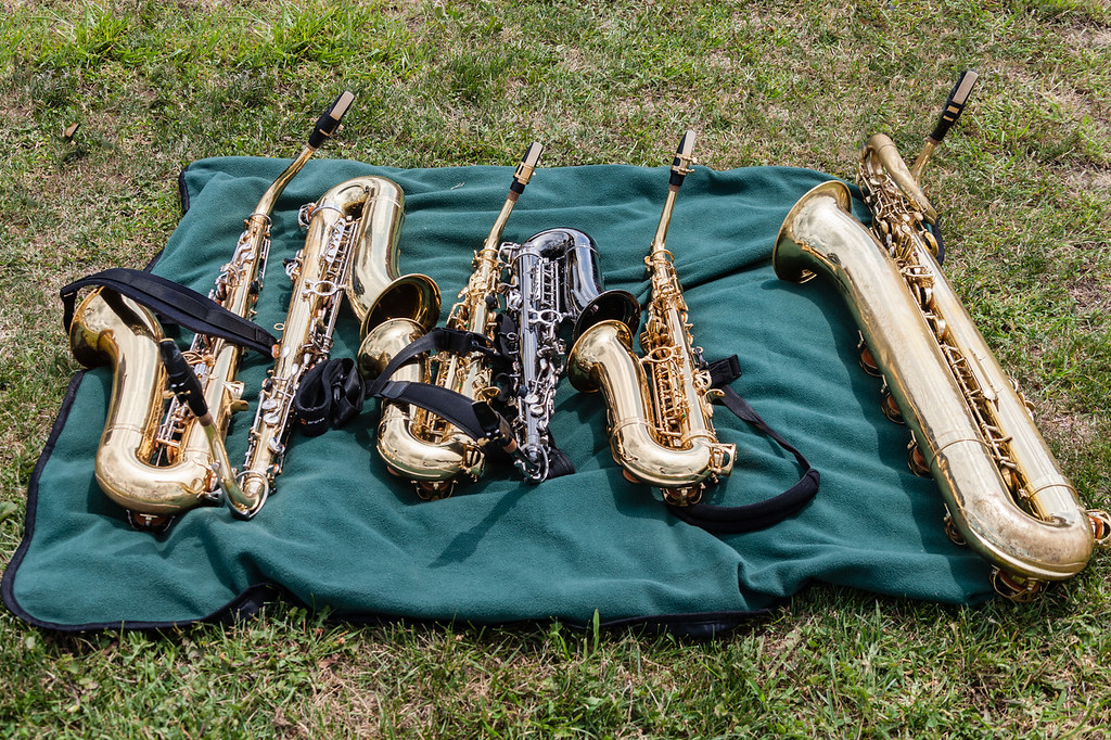 two tenors, three altos and a bari saxophones on a blanket