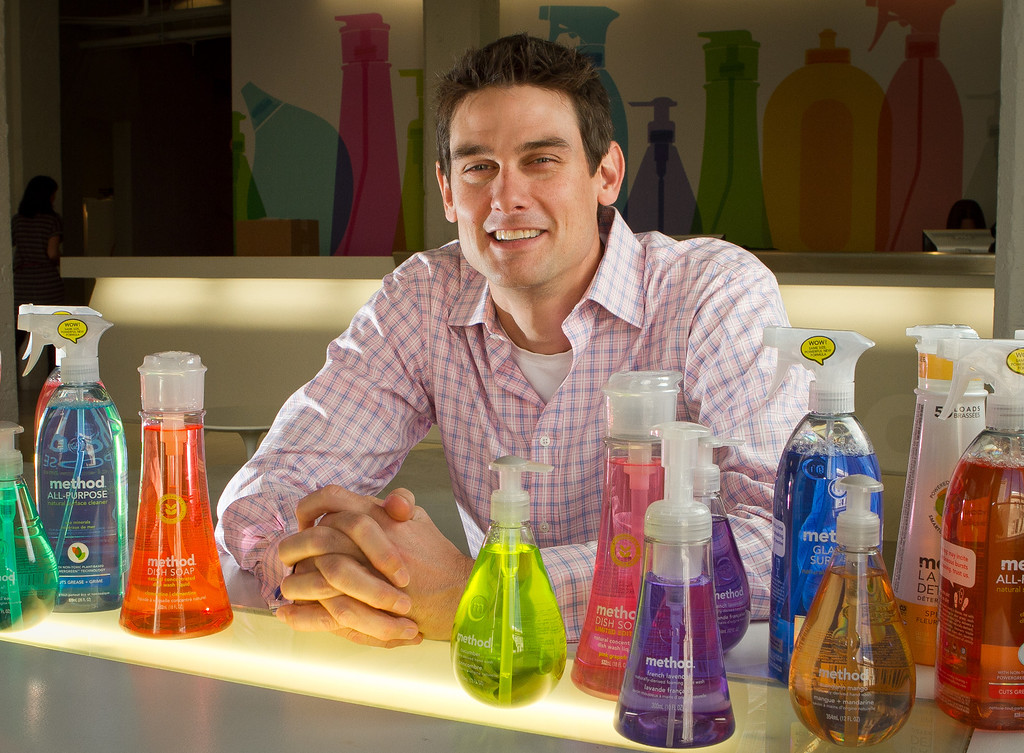 Method company co-founder Adam Lowry with his company's  products at their office in San Francisco, Calif., on Wednesday, November 16, 2011.