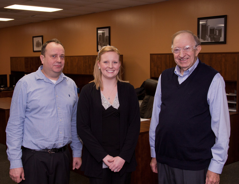 President Steve Getley and Production Manager Erica Moore with Harold Denton