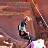 Moab, Utah and American Mountain Guides Association meetings October 30, 2009 to November 1, 2009 - CWD Team Member rappels down from top rope event