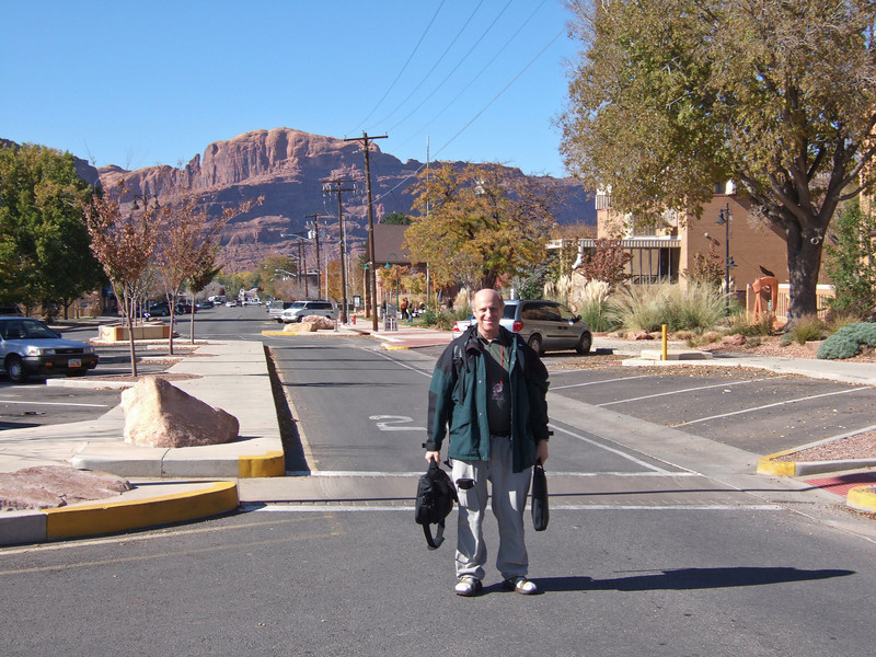 Moab, Utah and American Mountain Guides Association meetings October 30, 2009 to November 1, 2009 - Don in Front of Moab Public Library After Presentation - Photo Courtesy of Ed Crothers