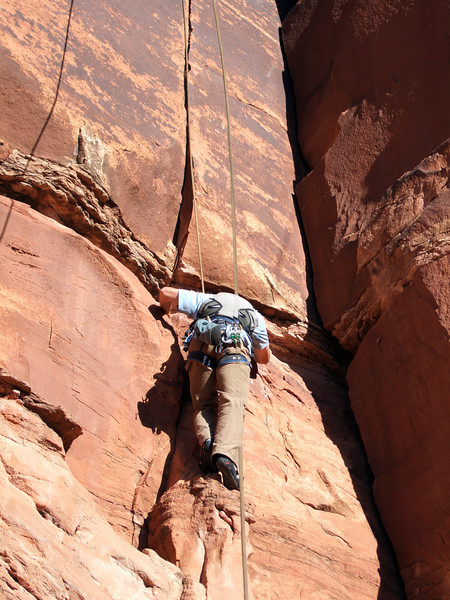 Moab, Utah and American Mountain Guides Association meetings October 30, 2009 to November 1, 2009 - The Transgender River Guide Nerd Alliance Team member Larry on top rope event