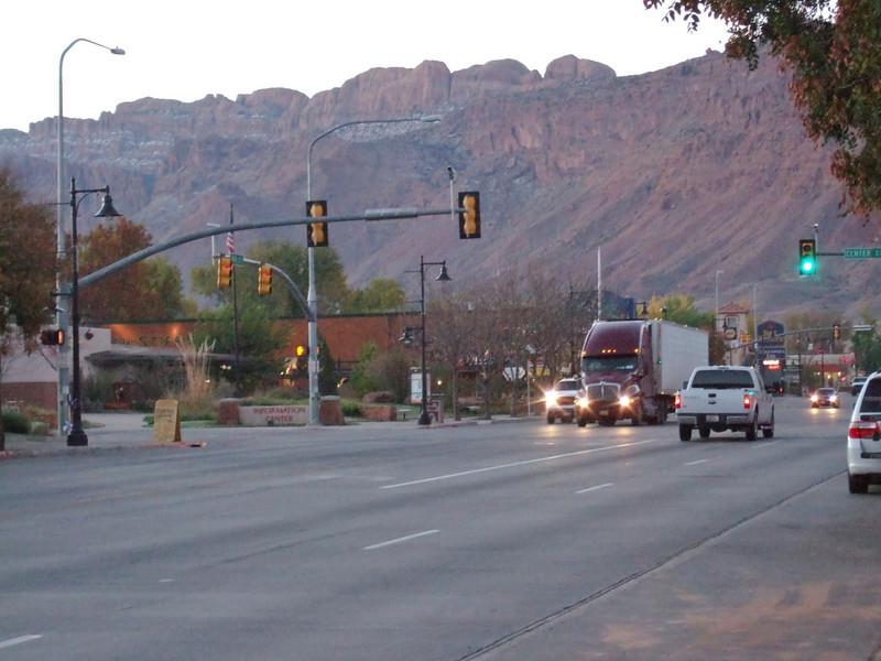 Moab, Utah and American Mountain Guides Association meetings October 30, 2009 to November 1, 2009 - Main Street Moab at Sunrise