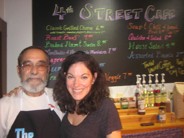 Lou and Mary Visco, former owners of El Video, having opened The 4th Street Cafe and Shoppes at 4th and Main Indoor/Outdoor Market. Photos by Arundhati Das