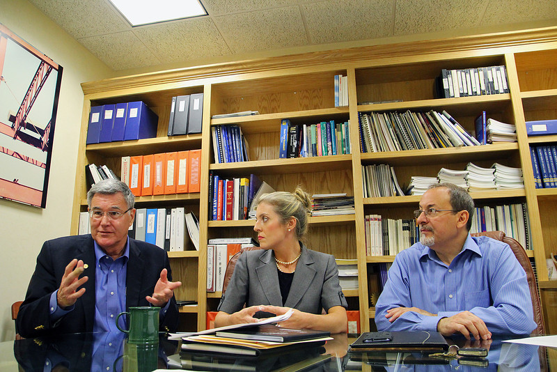 From left is Fitchburg State University Professor Michael Greenwood, Principal of Franklin Professional Associates Melissa Glenny and Keith Lanzilotti with Senior & Disabled Services at the office of the North Central Chamber of Commerce as they got together to talk about the new Pulse Survey for Hiring trends they will be conducting.  SENTINEL & ENTERPRISE/JOHN LOVE