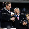 22 January 2012.  Jim Nantz of CBS interviews Patriot Owner Robert Kraft during Patriot postgame ceremonies.  The New England Patriots defeated the Baltimore Ravens 23 to 20 in the AFC Championship game.  The game was played in Gillette Stadium, Foxboro, Massachusetts. <br /> (c) Tom Croke/Visual Image Inc.