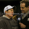 22 January 2012.   Patriot Head Coach Bill Belichick and a postgame inverview by CBS Sportscaster Jim Nantz. The New England Patriots defeated the Baltimore Ravens 23 to 20 in the AFC Championship game.  The game was played in Gillette Stadium, Foxboro, Massachusetts. <br /> (c) Tom Croke/Visual Image Inc.