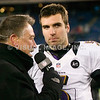 20 January 2013.  Ravens Quarterback Joe Flacco (5) during a postgame interview.  The Baltimore Ravens defeated the New England Patriots 28 to 13 in the AFC Championship Game in Gillette Stadium in Foxboro, Massachusetts. <br /> (c) Tom Croke/Visual Image Inc.
