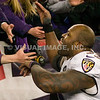 20 January 2013.  Ravens Linebacker Terrell Suggs (55) celebrates the win with Baltimore fans.  The Baltimore Ravens defeated the New England Patriots 28 to 13 in the AFC Championship Game in Gillette Stadium in Foxboro, Massachusetts. <br /> (c) Tom Croke/Visual Image Inc.