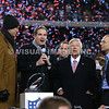 22 January 2012.  Patriot postgame ceremonies.  From left: Former Patriot Quarterback Drew Bledsoe, CBS Host Jim Nantz, Patriot Owner Robert Kraft and his son Jonathan Kraft.  The New England Patriots defeated the Baltimore Ravens 23 to 20 in the AFC Championship game.  The game was played in Gillette Stadium, Foxboro, Massachusetts. <br /> (c) Tom Croke/Visual Image Inc.