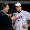 22 January 2012.  Patriot Quarterback Tom Brady during postgame interview by CBS' Jim Nantz.  The New England Patriots defeated the Baltimore Ravens 23 to 20 in the AFC Championship game.  The game was played in Gillette Stadium, Foxboro, Massachusetts. <br /> (c) Tom Croke/Visual Image Inc.