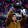 22 January 2012.  Former Patriot Quarterback and honorary captain, Drew Bledsoe, holds the Lamar Hunt Trophy for all to see.  The New England Patriots defeated the Baltimore Ravens 23 to 20 in the AFC Championship game.  The game was played in Gillette Stadium, Foxboro, Massachusetts. <br /> (c) Tom Croke/Visual Image Inc.
