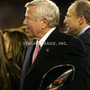 22 January 2012. Patriot Owner Robert (Bob) Kraft with the Lamar Hunt Trophy following the win over the Ravens.   The New England Patriots defeated the Baltimore Ravens 23 to 20 in the AFC Championship game.  The game was played in Gillette Stadium, Foxboro, Massachusetts. <br /> (c) Tom Croke/Visual Image Inc.