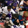 20 January 2013.  Ravens Guard Bobbie Williams (63) with fans following the game.  The Baltimore Ravens defeated the New England Patriots 28 to 13 in the AFC Championship Game in Gillette Stadium in Foxboro, Massachusetts. <br /> (c) Tom Croke/Visual Image Inc.